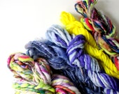 weaving handspun yarn, weavers creative yarn bundle, hand spun, hand dyed yarn, handspun art yarn, rainbow yarn .. banana minx