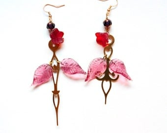 Boho Steampunk Clock Hand Earrings - Roses with Magenta Leaves