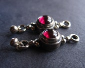 2 Smooth Garnet Cab Links in Solid Sterling Silver - High Quality craftsmanship