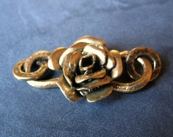 Solid Bronze heavy weight rose flower S hook clasp - findings - jewelry supplies clasps necklace bracelet