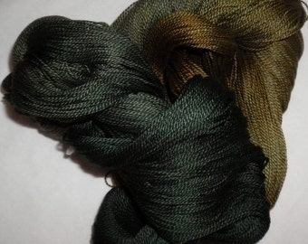 Handpainted 5-2 Egyptian Cotton Yarn    OLIVE OIL-525 yds.