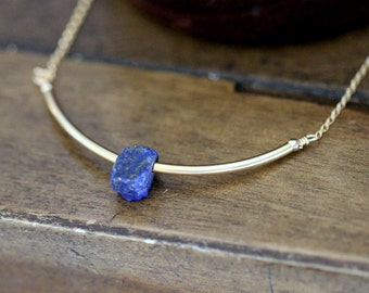 Lapis Lazuli Curved Bar Necklace in Gold or Rose Gold , Modern Cobalt Blue Gemstone Jewelry , Handmade Gifts - Valkyrie