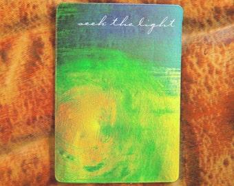 Art Magnet - Inspirational Magnet - Fridge Magnet - Locker Cubicle - Enlightenment Faith - Positive Energy - Yellow Blue Green - Lightworker
