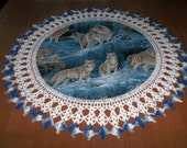 Crocheted Doilies, Wolf Doily, Wolves, Handmade Doily, Fabric Center, Crocheted Edge, 20 inches, Table Topper, Gift, Lace Doily, Centerpiece