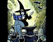 Cauldron Witch Signed Halloween Print by Mister Reusch