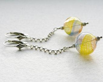 Silver Dangle Earrings Vintage Blue Yellow Orange Swirl Glass Beads 1950s