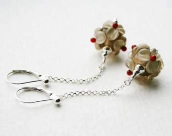 Silver Dangle Earrings Floral Glass Lamp Work Mink and Red Beads