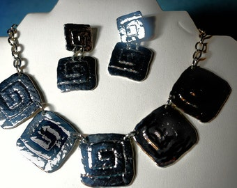 Vintage Park Lane Set Earrings and Necklace, Silver Statement Necklace, Gift for Lady