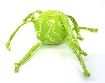 Soft Baby Toy - ball with strings - Cute Dinosaur Doodles - Green and Yellow
