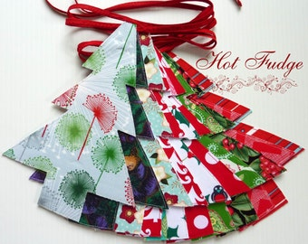 Christmas in July, Tree Garland, Christmas Fabrics, Double Sided, Red Ties