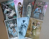 Reserved for Huntanpeck 12 Belle Epoque Glamour Postcards: Ladies in Blue Cleo de Merode French Script and More