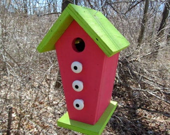 Birdhouse Trapezoid Shape Functional Primitive Lime Green Violet Red White Knobs