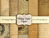 50% Off SALE Digital Papers Commercial Use Vintage Instant Digital Download Antique Handwriting Letters, Postcard & Map No. 51