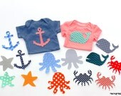 Ocean/Nautical Theme Baby Shower//Baby Girl/Boy// 5 - 10 -15- 20 Piece Applique Sets Available //Fabric Iron On Appliques