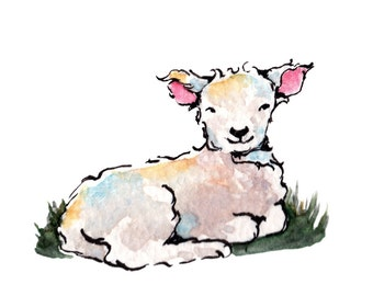 Little baby lamb illustration ORIGINAL watercolour ACEO painting