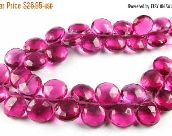 FLASH SALE Gorgeous AAA Hot Pink Raspberry Quartz Faceted Heart Briolettes 13mm - 14mm (10 beads)