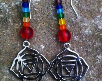 Chakra Earrings with Coordinating Colors  Drop and Dangle Earrings