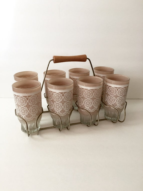 Lace Print Glasses in Caddy Vintage Drinking Glasses in Wire and Wood Holder