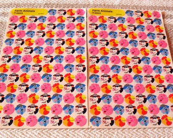 Vintage Trend 1992 Farm Animals  Mini Stickers 2 Sheets