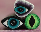 Set of 3 Polymer Clay Mini Eye Canes -'Mystical Meadow' (39dd)