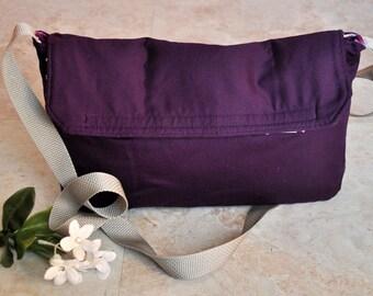 ON SALE Small purple messenger bag, foldover crossbody bag, one of a kind bag, satchel bag, hip bag, shoulder bag, messenger purse