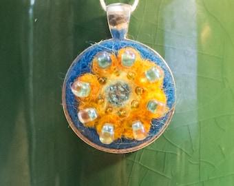 """OOAK Needle Felted Kaleidoscope Pendant - """"Blue Hawaii"""""""