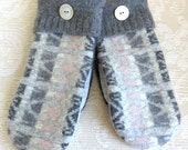 Repurposed Sweater Wool Mittens in Gray and Pale Pink, Adult Size