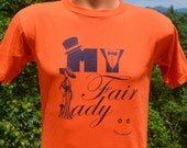 vintage 90s t-shirt MY FAIR lady high school play drama tee Small orange