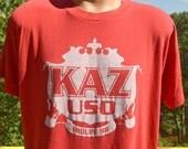 vintage 80s t-shirt KAZ uso troupe 98 paper thin soft burnout tee Medium Large red