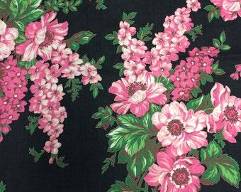Vintage 1950s Pink Black Floral Print Cotton Fabric - 3/4 Yard -  Fabric Yardage / Vintage Yardage / Cotton Fabric / 1950s Fabric / 50s