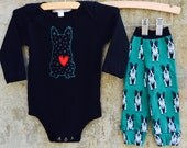 Boy or Girl Baby Bodysuit and Leg Warmer Set - BOSTON TERRIER LOVE - Fun Birthday or Baby Shower Gift - Perfect for Dog Lovers