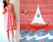 Vintage 70s Anchors Away Red Striped Jersey Sailboat Shirt Waist Dress (size xs, small)