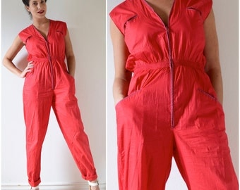 Vintage 70s 80s Benetton Watermelon Red Jumpsuit (size small, medium)