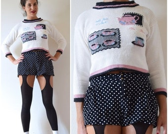 FALL SALE / 20% off Vintage 90s Five O Clock Tea Time Novelty Knit Cropped Sweater (size small, medium)