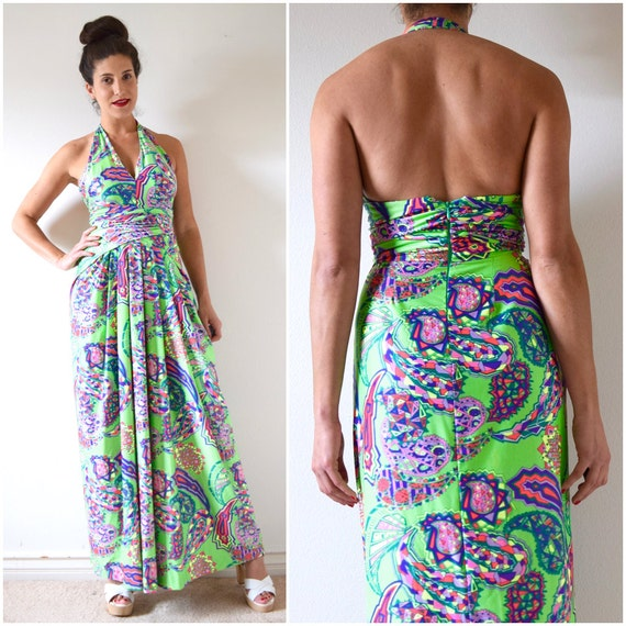 SPRING SALE/ 20% off Vintage 60s 70s Psychedelic Halter Back Maxi Dress (size xs, small)