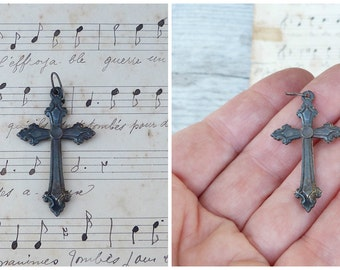Vintage Antique old French 1900  medal / silvered cross /religious/ christianity