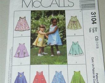 MCalls Girls Jumper Dress Pattern 3104 Size 1 2 3 12655