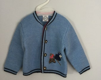 Vintage Austrian Kids Folk Alpine Cardigan Wool Blend Sweater 3t 4t