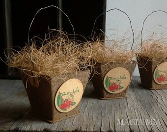Farmhouse Peat Pot Favor Treat Mini Basket, Candy Container, Seedling Plant Gift Package, Farm Tomato Dairy Milk Bottle Cap with Wire Handle