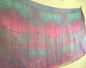 Belly dance costume silk veil blended hand dyed in Hawaii DISCOUNT