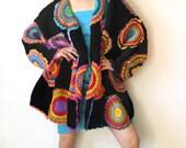 Plus Size Clothing, Oversize Cardigan, Sweater, Plus Size, Long Sleeved Cardigan, Womens Clothhing, Rainbow, Black, MADE TO ORDER