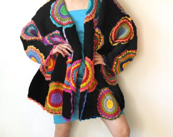 Plus Size Clothing, Oversize Cardigan, Sweater, Plus Size, Long Sleeved Cardigan, Womens Clothhing, Rainbow, Black, MADE TO ORDER