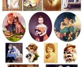 People and Pets vintage images download digital collage sheet kids cats dogs puppy kitten child GreatMusings No. 235