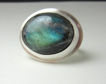Labradorite Ring, Sterling Silver Ring, Stone Ring, Spectrolite Ring
