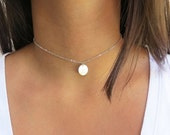 ON SALE Initial Choker Necklace Layering Disc Necklace Personalized  Bridesmaids Gift Gold Silver or Rose Gold Finish