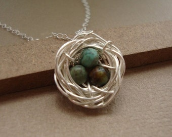THREE DAY SALE Bird  Nest Necklace  Rustic Style, African Turquoises - All Sterling Silver, Nest Necklace, Wrapped Stones, Rustic Nest Neckl