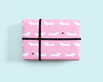 Dachshund Gift Wrap / Dog Wrapping Paper / Wiener Dog Print / Doxie Gift Wrap / Cute Wrapping Paper