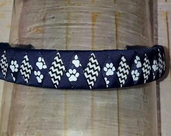 """Navy Paw Print Headband Navy Chevron Headband 7/8"""" Back to School Uniform Headband White and Navy Headband Blue Paw Print Headband Woven"""