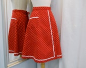 Hand Made Red and White Wrap Skirt Cotton Print Skirt A Line Skirt Casual Wear Rick Rack Trim 70s Style Skirt Vintage Fabric Size Small