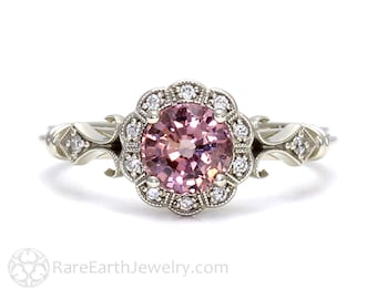 Art Deco Ring Pink Spinel Ring Vintage Engagement Ring Milgrain Diamond Halo Ring in 14K or 18K Gold Pink Gemstone Ring